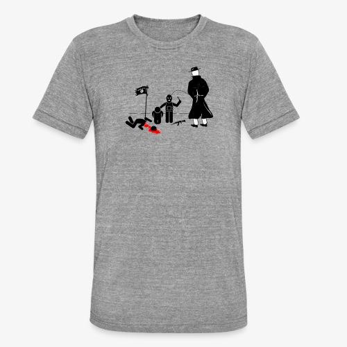 Pissing Man against terrorism - Unisex Tri-Blend T-Shirt von Bella + Canvas