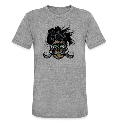 hipster skull tete de mort crane barbu moustache - T-shirt chiné Bella + Canvas Unisexe