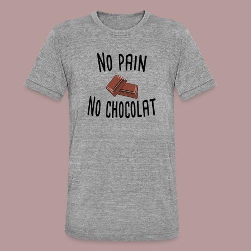 No pain no chocolat citation drôle - T-shirt chiné Bella + Canvas Unisexe