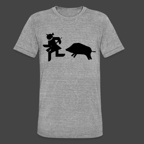 """""""Jägerin vs Bache""""-Jägerinnenshirt - Unisex Tri-Blend T-Shirt von Bella + Canvas"""
