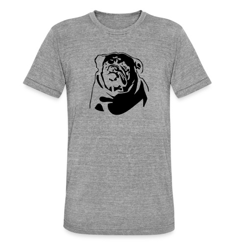 English Bulldog - negative - Bella + Canvasin unisex Tri-Blend t-paita.