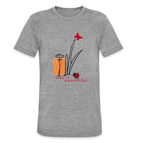 Marienkäfer, Schmetterling, life is beautiful - Unisex Tri-Blend T-Shirt von Bella + Canvas