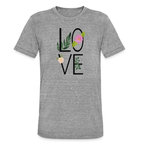 Love Sign with flowers - Unisex Tri-Blend T-Shirt by Bella & Canvas