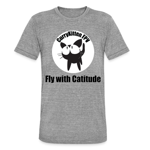 CurryKitten Logo - Fly with Catitude - Unisex Tri-Blend T-Shirt by Bella & Canvas