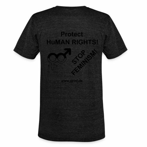 Protect HuMAN Rights - Stop Feminism - Unisex Tri-Blend T-Shirt von Bella + Canvas