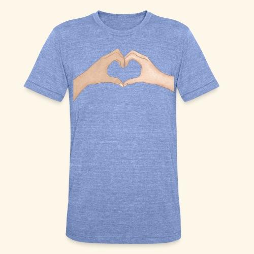 Mains Coeur Amour - Love hands - T-shirt chiné Bella + Canvas Unisexe