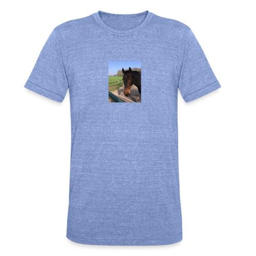 Met bruin paard bedrukt - Unisex tri-blend T-shirt van Bella + Canvas
