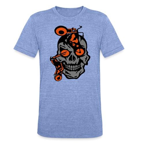 tete mort moto motrocycle oeil skull - T-shirt chiné Bella + Canvas Unisexe