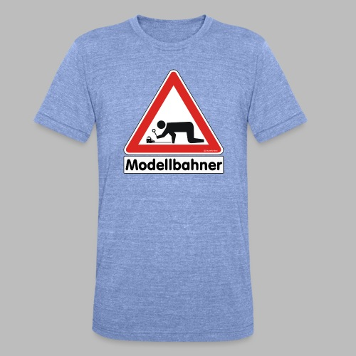 Warnschild Modellbahner E Lok - Unisex Tri-Blend T-Shirt von Bella + Canvas