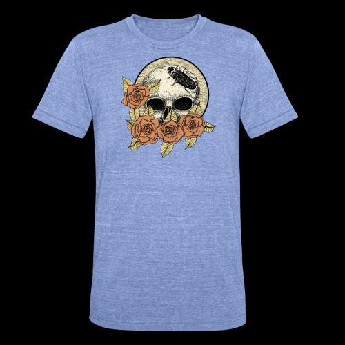 Rose et tête de mort - T-shirt chiné Bella + Canvas Unisexe