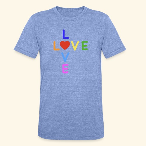 Rainbow Love. Regenbogen Liebe - Unisex Tri-Blend T-Shirt von Bella + Canvas