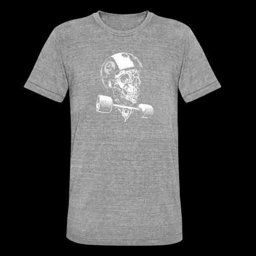 Skull Longboard Rider - negative print - T-shirt chiné Bella + Canvas Unisexe