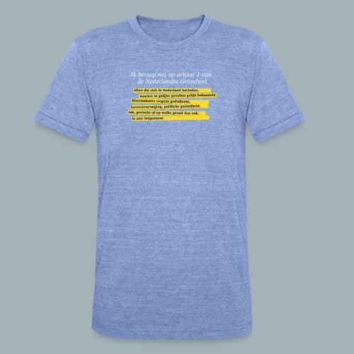 Nederlandse Grondwet T-Shirt - Artikel 1 - Unisex tri-blend T-shirt van Bella + Canvas