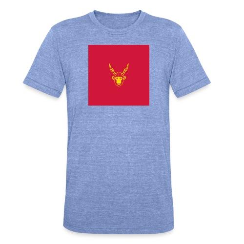 scimmiacervo sfondo rosso - Maglietta unisex tri-blend di Bella + Canvas