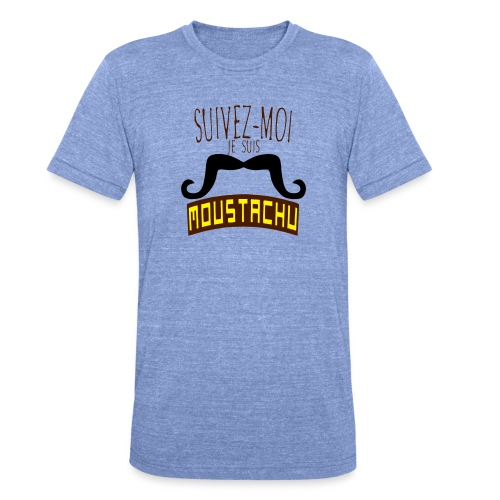 citation moustache suivez moi moustachu - T-shirt chiné Bella + Canvas Unisexe