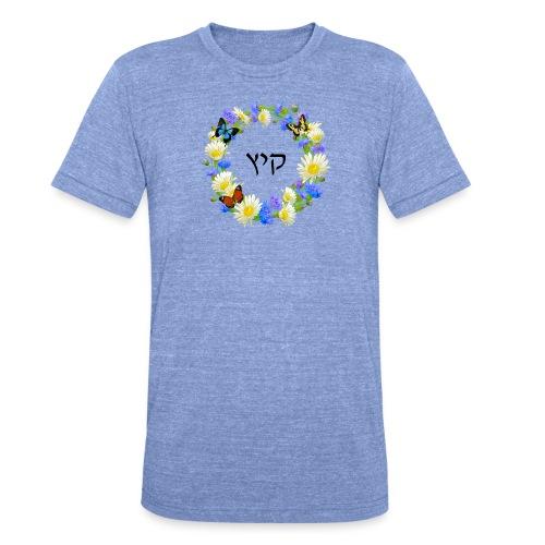 Corona floral verano, hebreo - Camiseta Tri-Blend unisex de Bella + Canvas