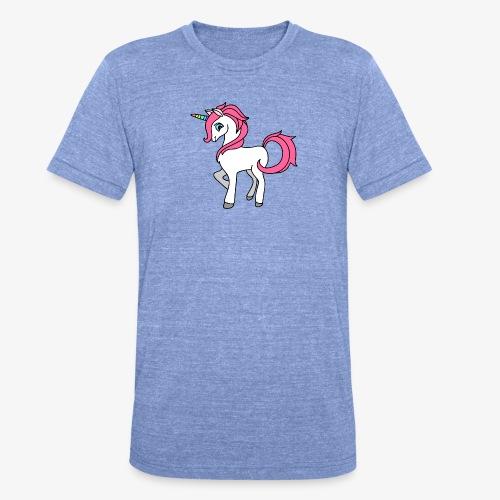 Süsses Einhorn mit rosa Mähne und Regenbogenhorn - Unisex Tri-Blend T-Shirt von Bella + Canvas