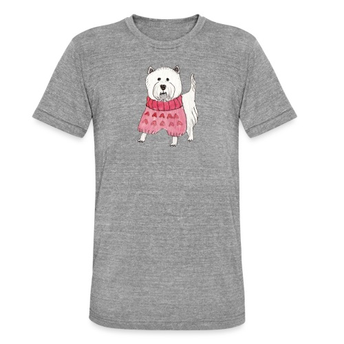 westie with sweater - Unisex tri-blend T-shirt fra Bella + Canvas