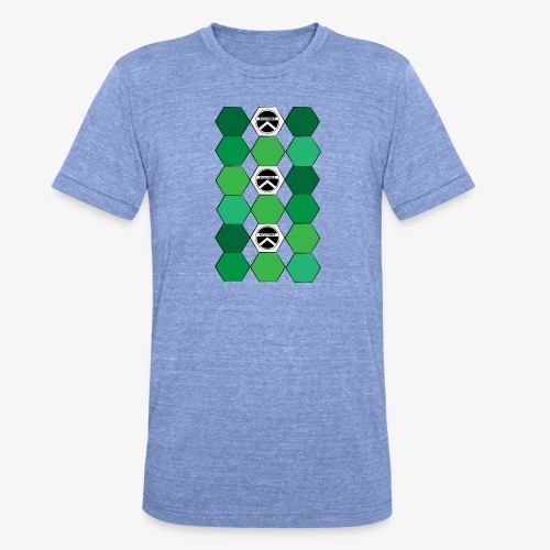 |K·CLOTHES| HEXAGON ESSENCE GREENS & WHITE - Camiseta Tri-Blend unisex de Bella + Canvas