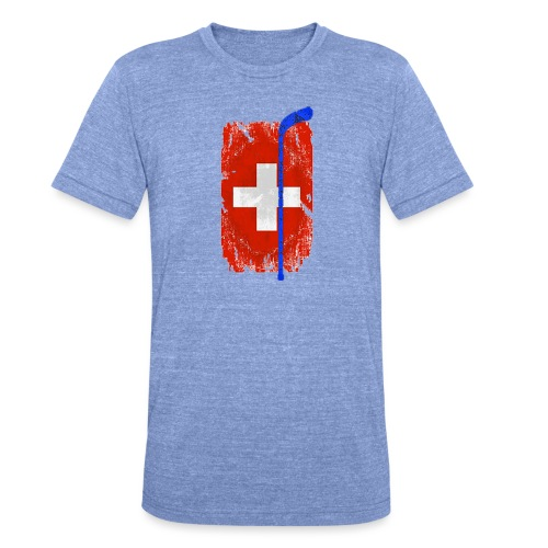 Schweizer Flagge Hockey - Unisex Tri-Blend T-Shirt von Bella + Canvas