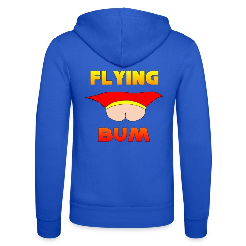 Flying Bum (face on) with text - Unisex Hooded Jacket by Bella + Canvas