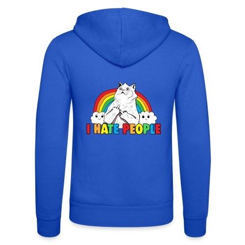 Fluff Off Rainbow Cat Hates People - Unisex Hooded Jacket by Bella + Canvas