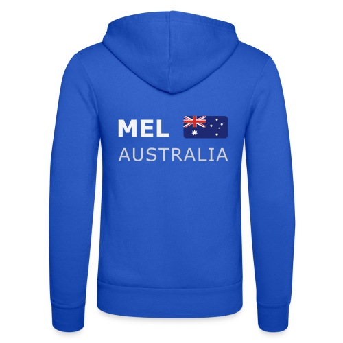 MEL AUSTRALIA white-lettered 400 dpi - Unisex Hooded Jacket by Bella + Canvas