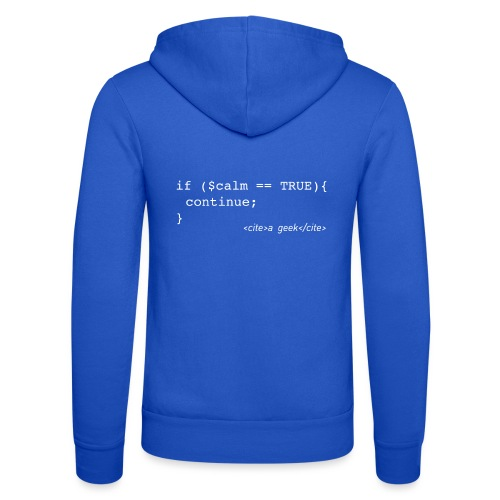 Coder's Keep Calm (with white text) - Unisex Hooded Jacket by Bella + Canvas