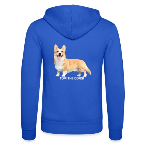 Topi the Corgi - White text - Unisex Hooded Jacket by Bella + Canvas