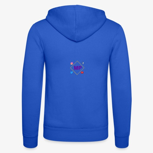 MP logo with social media icons - Unisex Hooded Jacket by Bella + Canvas