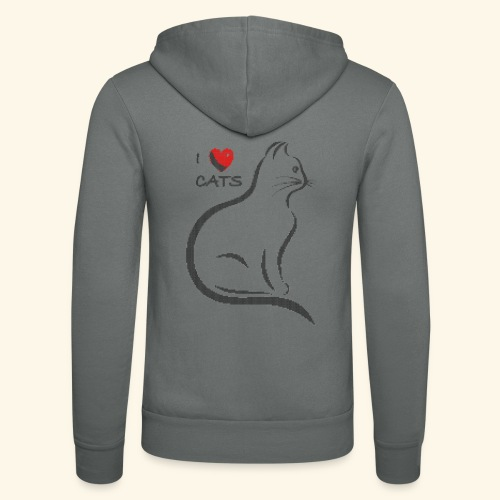 I love cats. Dark stitched design - Unisex Kapuzenjacke von Bella + Canvas
