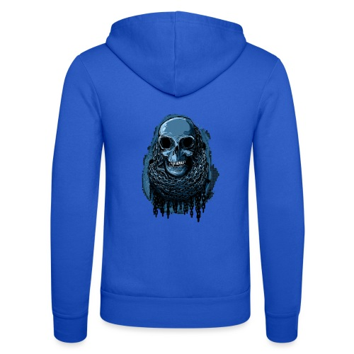 SKULL in CHAINS - deepBlue - Unisex Hooded Jacket by Bella + Canvas