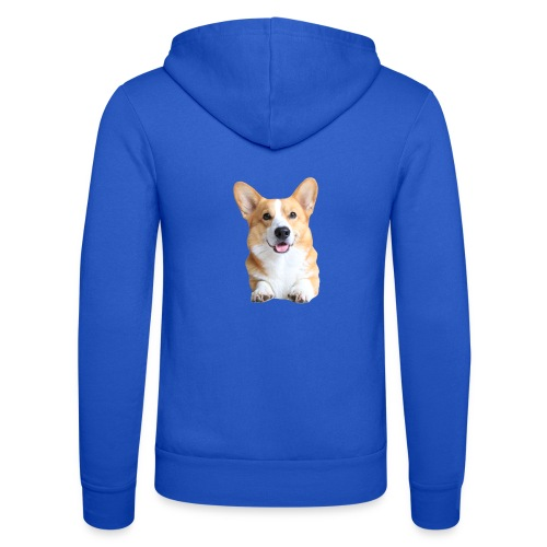 Topi the Corgi - Frontview - Unisex Hooded Jacket by Bella + Canvas