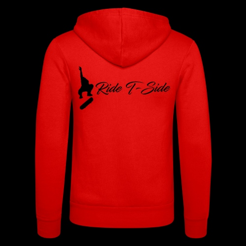 Ride T-Side - Skate Logo and Text - Black - Unisex Hooded Jacket by Bella + Canvas