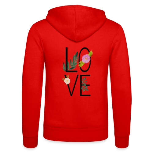 Love Sign with flowers - Unisex Hooded Jacket by Bella + Canvas