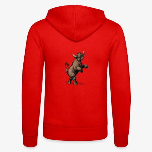 Highland Cow on roller skates - Unisex Hooded Jacket by Bella + Canvas