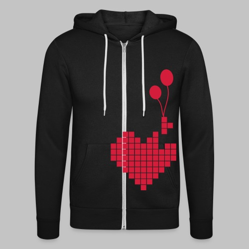 heart and balloons - Unisex Hooded Jacket by Bella + Canvas