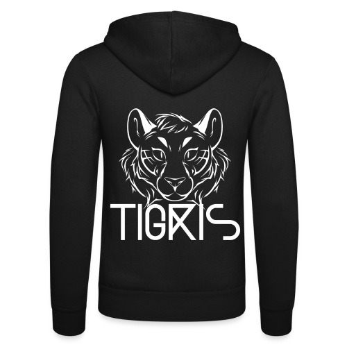 Tigris Logo Picture Text White - Unisex Hooded Jacket by Bella + Canvas
