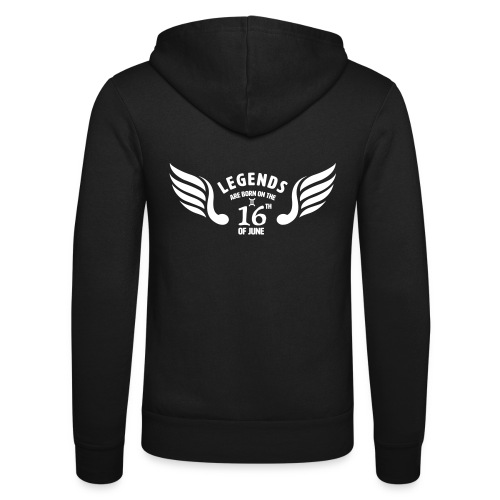 Legends are born on the 16th of june - Unisex hoodie van Bella + Canvas