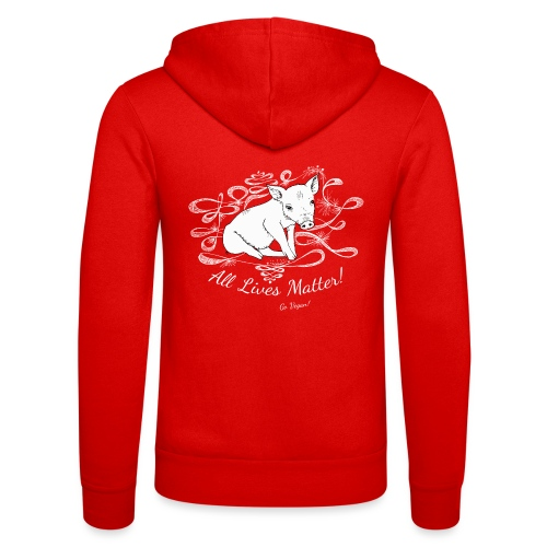 white piggy - Unisex Hooded Jacket by Bella + Canvas