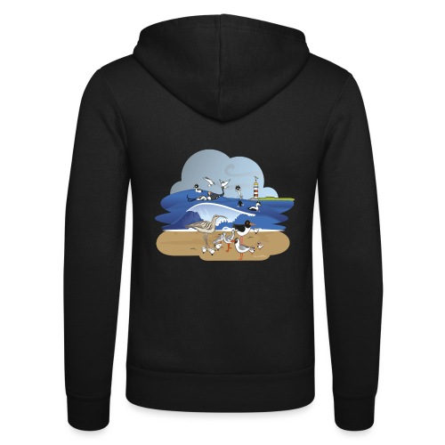 See... birds on the shore - Unisex Hooded Jacket by Bella + Canvas