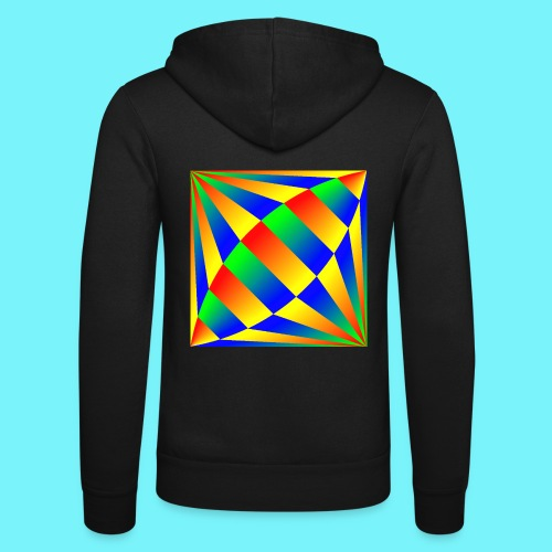 Giant cufflink design in blue, green, red, yellow. - Unisex Hooded Jacket by Bella + Canvas