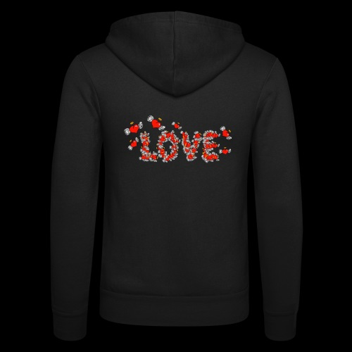 Flying Hearts LOVE - Unisex Hooded Jacket by Bella + Canvas