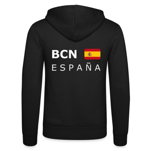 BCN ESPAÑA white-lettered 400 dpi - Unisex Hooded Jacket by Bella + Canvas
