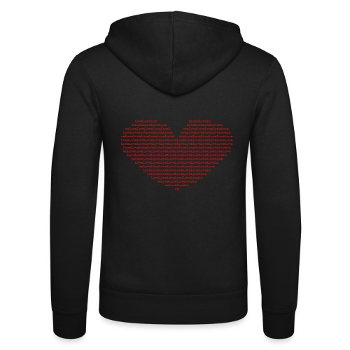 Isle of red Ascii Heart - Unisex Hooded Jacket by Bella + Canvas