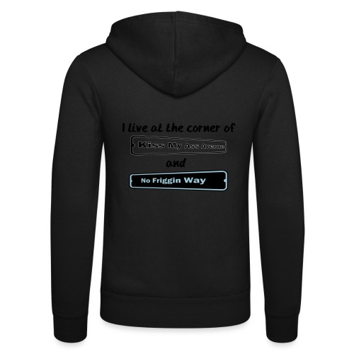 I_LIVE_AT_THE_CORNER_CUT_-2- - Unisex Hooded Jacket by Bella + Canvas