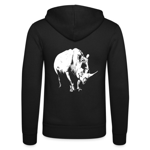 White Rhinoceros (highlights only) - Unisex Hooded Jacket by Bella + Canvas