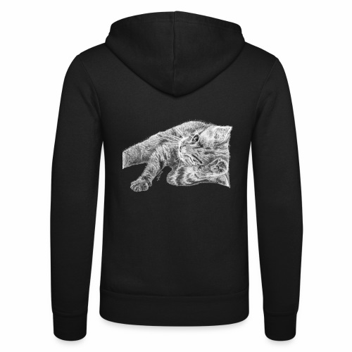 Small kitten in gray pencil - Unisex Hooded Jacket by Bella + Canvas