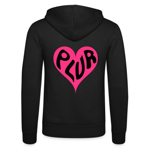 PLUR - Peace Love Unity and Respect love heart - Unisex Hooded Jacket by Bella + Canvas