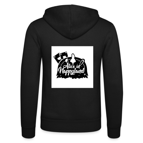 Alice in Nappyland TypographyWhite with background - Unisex Hooded Jacket by Bella + Canvas